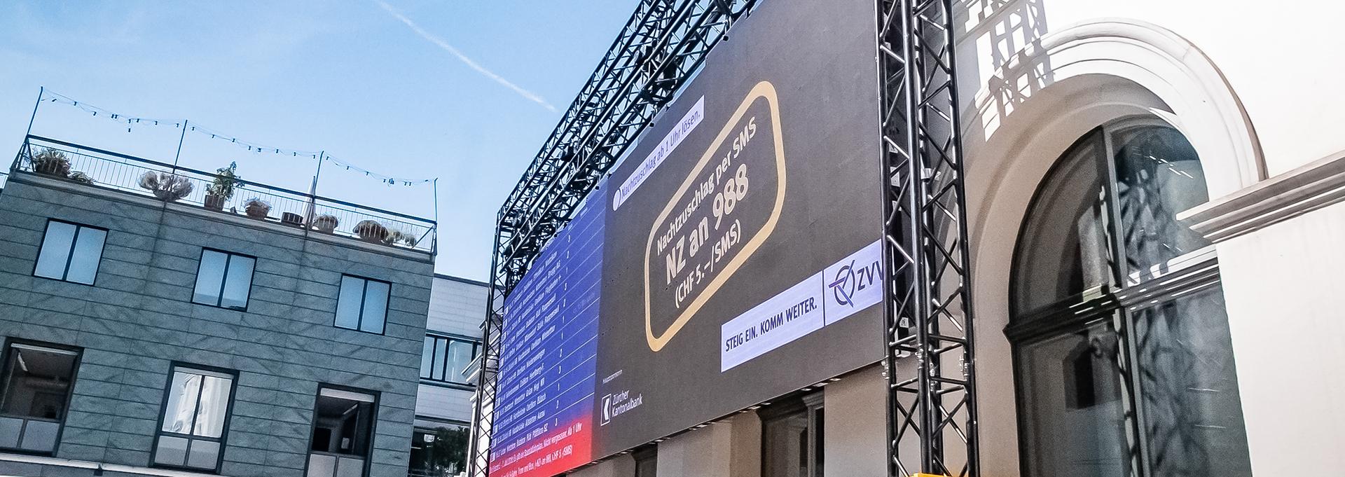 LED-Anzeigetafel für SBB am Zürich Stadelhofen